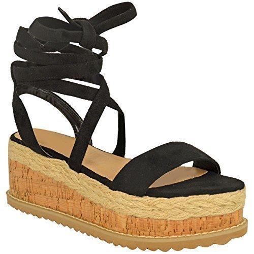 Fashion Thirsty Donna Sughero Forma Piatta Espadrille Sandali con Zeppa Alla Caviglia da Allacciare Scarpe Numeri  Nera Pelle Scamosciata