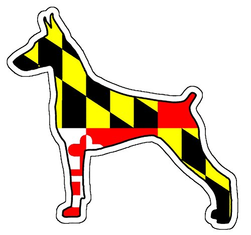 - Maryland Flag Doberman Pinscher Sticker