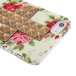 HC- Diseño de la novedad Remaches bronceado cruz y Rose Caso duro del patrón con el pegamento del clavo para el iPhone 5/5S