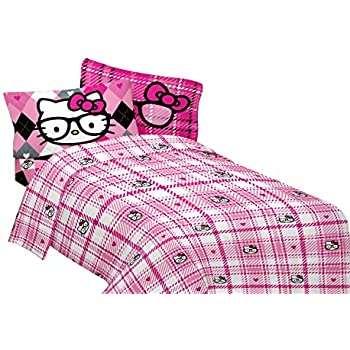 Amazoncom Hello Kitty Full Size Free Time 4Piece Blue  Pink