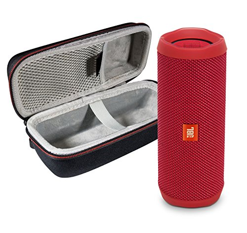 JBL Flip 4 Waterproof Portable Bluetooth Speaker (Red) & Protective Travel Case Bundle