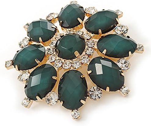 Avalaya Broche en acrylique vert fonc/é avec cristal transparent et couleur dor/ée 60 mm de diam/ètre