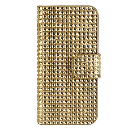 Tonsee(TM) Luxury Shiny Magnificent Bling Diamond Flip Wallet Leather Case Cover for Iphone 5 5s 5th (Gold)