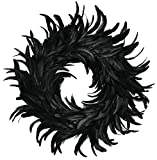 "The Costume Center 15"" Black Indoor Accent Round Cocktail Feather Wreath"