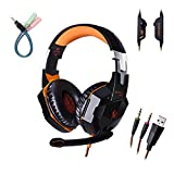 Gaming Headphone for PC with Mic Over-ear One Key Mute Headset with Volume Control 3.5mm Audio Noise Reduction USB LED Light Cool Style Stereo for PC, PS4, Xbox One (Black & Orange)