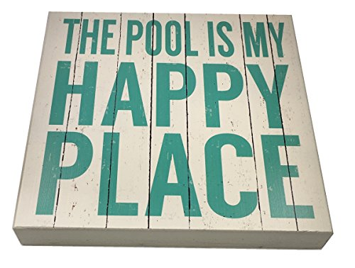 THE POOL IS MY HAPPY PLACE Wood 12x12 Box Sign by Sixtrees -
