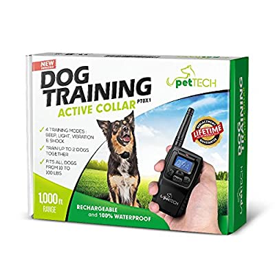 Pettech PT0X1 Premium Dog Training Shock Collar, Fully Waterproof, 1000ft Range