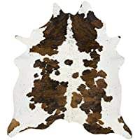 Tricolor Pure Elegant Brown, Black and White Cowhide Rug - Top Quality Cowhides (5 ft X 5 ft)