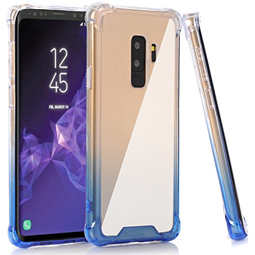 Galaxy S9 Plus Case, BAISRKE Clear Blue Gradient Shock Absorption Flexible TPU Soft Edge Bumper Anti-Scratch Rigid Slim Protective Cases Hard Plastic Back Cover for Samsung Galaxy S9+ Plus