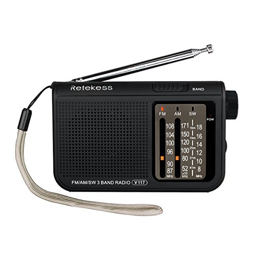 Retekess V117 Portable AM FM Radio Shortwave Battery Operated by 2 AA Battery Transistor Radio with DSP 3.5mm Headphone Jack(Black)