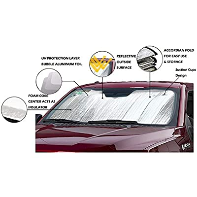 Big Hippo Front Car Sunshade Windshield-Jumbo/Standard Sun Shade Keeps Vehicle Cool-UV Ray Protector Sunshade-Easy to Use Sun Shade-Silver/Blue Sides(Size: 55.16