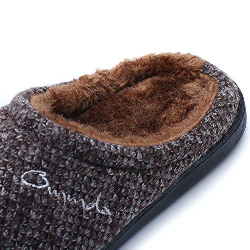 ICEGREY Damen Mode Strickte Warme Hausschuhe Gemütliche Plüsch Fleece Gefüttert Slip auf Wärmehausschuhe Braun 43
