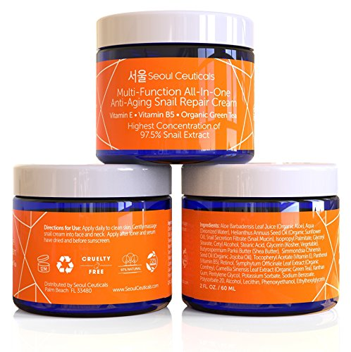 51CJ8MmeReL - Korean Skin Care Snail Repair Cream - Korean Moisturizer Night Cream 97.5% Snail Mucin Extract - All In One Recovery Power For The Most Effective Korean Beauty Routine - 2oz