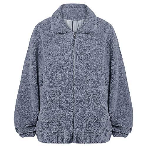 Cárdigan Passosie Gris Con Lana Y Mujer Bolsillos Invierno L Cremallera Jacket Piel Suelto Caliente Azul Chaqueta Abrigo S Sintética De xxFrgv1w