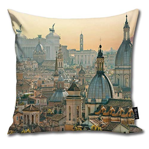 View of Rome from Castel Sant'Angelo Italy Historical Landmark Vatican Throw Pillow Cover Cushion Covers Pillowcase, Home Decor Decorations for Sofa Couch Bed Chair 18x18 Inch