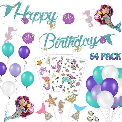 (64 PACK Mermaid Birthday Party Decorations for Kids - Glitter Mermaid Happy Birthday Banner, Macarons Color Balloons, Mini Sea-maid Balloons, Cute Cartoon Tattoos | Aster Birthday Supplies Set for 1st)
