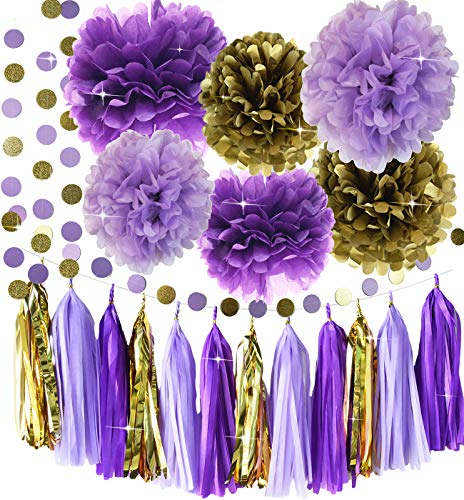 Qian's Party Purple Lavender Glitter Gold Baby Shower Tissue Paper Pom Pom Paper Tassel Garland First Birthday Decorations Purple Bridal Shower Decorations Snow or Sea Theme Party Decor -