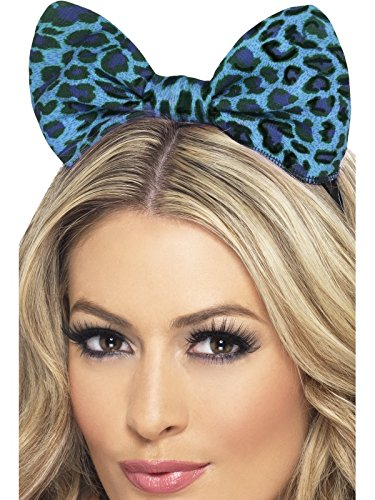 [Fever Women's Leopard Bow On Headband On Display Card, Blue, One Size] (Leopard Print Fancy Dress Costumes)
