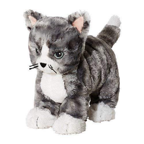 - IKEA LILLEPLUTT Soft Toy, cat Gray, White, 21cm, Multi