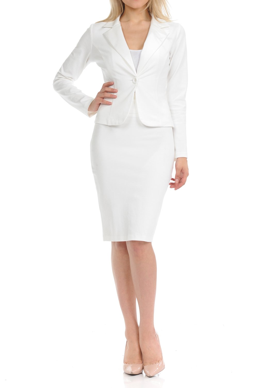 Sweethabit Womens Wear to Work Solid Skirt Suit Set (2X Plus, 3127N-3087N_White)