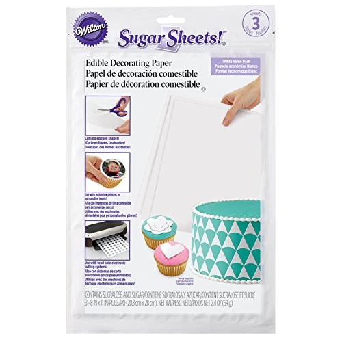 Wilton White Sugar Sheets Edible Decorating Paper, 3-Count by Wilton