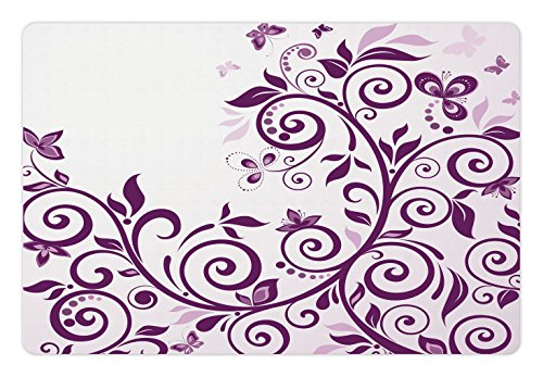 Lunarable Purple Pet Mat for Food and Water, Growing Curved Floral Vine Ivy Branches with Butterflies Bridal Female Concept, Rectangle Non-Slip Rubber Mat for Dogs and Cats, Violet White
