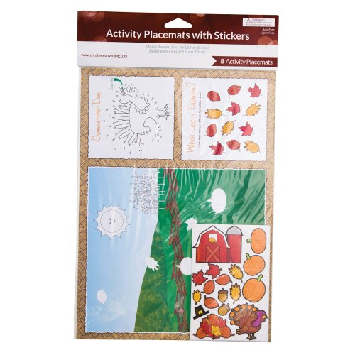 Creative Converting 8 Count Kids Thanksgiving Activity Placemats with Stickers