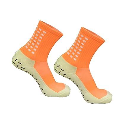 WINOMO Calcetines Antideslizantes de fútbol para Hombres Calcetines Cortos de fútbol (Naranja)
