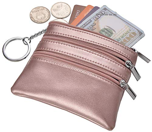 Leather Keychain Ring - Yeeasy Womens Mini Coin Purse Wallet Genuine Leather Zip Pouch Keychain Ring (Rose Gold)
