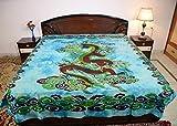 Sarjana Handicrafts King Size Cotton Flat Bed Sheet Dragon Bedspread Bedding (Sky Blue)