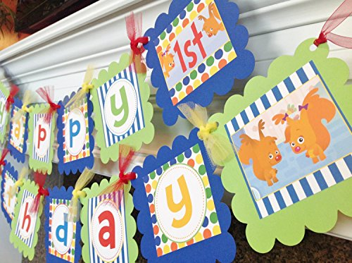 Party Pack Special - Babys First TV Inspired Banner - Sammy & Eve and Peekaboo Inspired - Royal Blue Stripes Primary Color Polka (Baby First Tv Party Supplies)