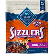 Blue Buffalo Sizzlers Natural Bacon-Style Soft-Moist Dog Treats, Original Pork 15-oz bag
