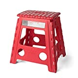 Acko 16 Inches Super Strong Folding Step Stool for Adults and Kids, Red Kitchen Stepping Stools, Garden Step Stool, holds up to 400 LBS