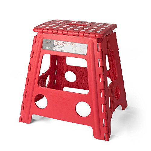 Acko 16 Inches Super Strong Folding Step Stool for Adults and Kids, Red Kitchen Stepping Stools, Garden Step Stool, holds up to 400 LBS by Acko
