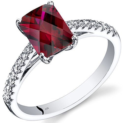 - 14K White Gold Created Ruby Ring Radiant Cut 2.00 Carats Size 7