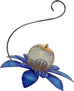 Blue Metal Flower Bird Feeder Hanging Hummingbird Feeders for Outdoors with Large Food Bowl for Window Yard Garden Art Decoration Tree Bird Feeder Squirrel Proof Best Bird Watching Feeder