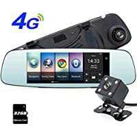 junsun 4G 7 Dash Cam Car Camera DVR GPS Bluetooth Dual Lens Rearview Mirror Video Recorder Full HD 1080P Automobile DVR Mirror