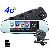 junsun 4G 7'' Dash Cam Car Camera DVR GPS Bluetooth Dual Lens Rearview Mirror Video Recorder Full HD 1080P Automobile DVR Mirror