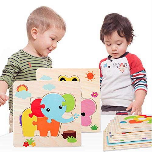 HighFun Wooden Jigsaw Puzzles for Kids Ages 2 3 4 5 Years Old,Wooden Animals & Vehicle Puzzles Set for Toddlers,Preschool Education Learning Puzzles Toys for Boys and Girls