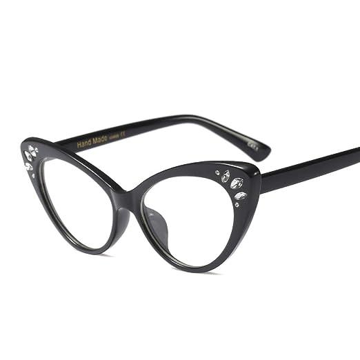 05d73f8c149 Cat Eye Eyeglasses Women Optical Sexy Ladies Glasses Frame Rhinestone  Decoration (black frame)