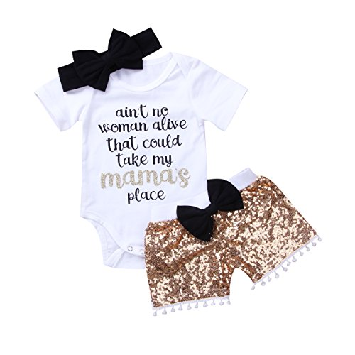 Enhill Newborn Infant Baby Girl Funny Romper Bodysuit+Sequins Shorts With Pompom+Headband Outfit Set (White+Champagne, 0-3 Months) ()