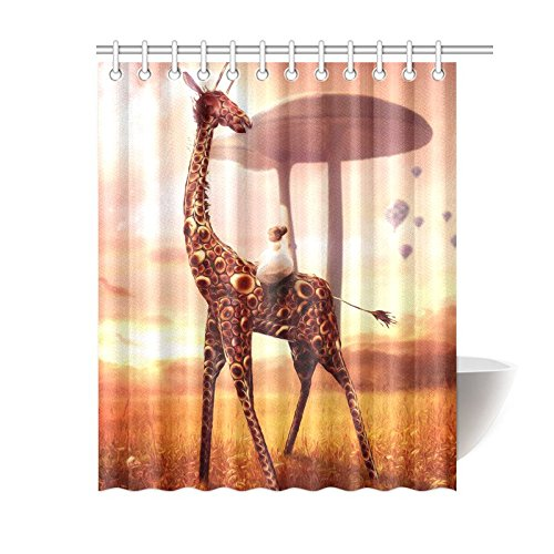 CTIGERS Animal Theme Shower Curtain for Kids Baby Girl on the Giraffe Polyester Fabric Bathroom Decor 60 x 72 Inch by CTIGERS