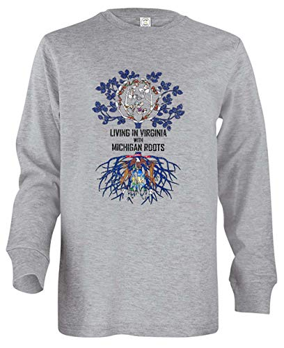 Tenacitee Girl's Youth Living in Virginia with Michigan Roots Long Sleeve T-Shirt, Large, Heather Grey from Tenacitee