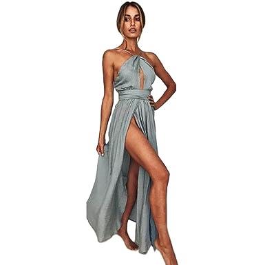 c9df31935ced YOUBan Damen Kleid Sommerkleid Lässiges Strandkleid Lange Abendkleid Frauen  Boho langes Kleid Sexy Grau Kleid Mini