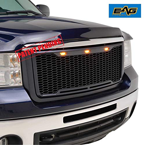 - EAG Replacement Upper Grille Front Mesh Grill with Amber LED Lights - Matte Black Fit for 07-10 GMC Sierra 2500/3500 Heavy Duty