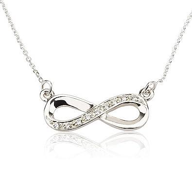 Amazon infinity pendant silver infinity necklace with swarovski amazon infinity pendant silver infinity necklace with swarovski stones 14 inches jewelry mozeypictures Gallery