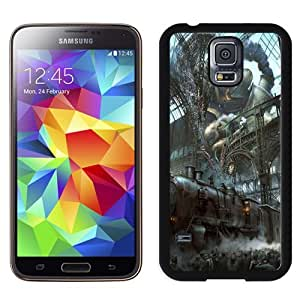 NEW Unique Custom Designed Samsung Galaxy S5 I9600 G900a G900v G900p G900t G900w Phone Case With Steampunk Train Station Titan_Black Phone Case wangjiang maoyi