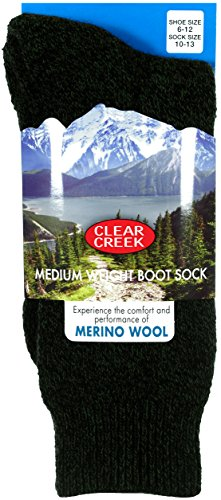 Clear Creek Men's Merino Wool Medium Weight Extra Thick Boot Socks in 5 Colors (Black-Olive Green)