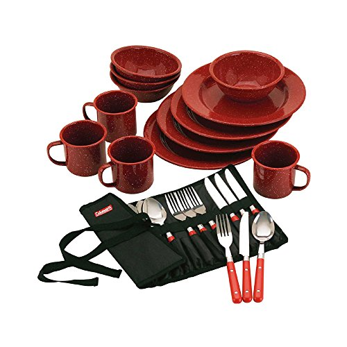 Coleman 2000016407 Enamelware 24Pc Red