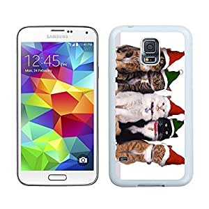 Popular Sell Green Red Christmas Hat Cats Samsung Galaxy S5 White Silicone Case,Samsung I9600 Phone Case